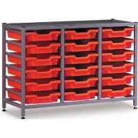 Gratnells 3 Column Low 18 Tray Storage Rack
