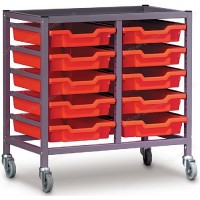 Gratnells Double Column 10 Tray Storage Trolley