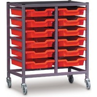 Gratnells Double Column 12 Tray Storage Trolley