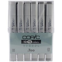 Copic Marker 12pc Toner Grey Set